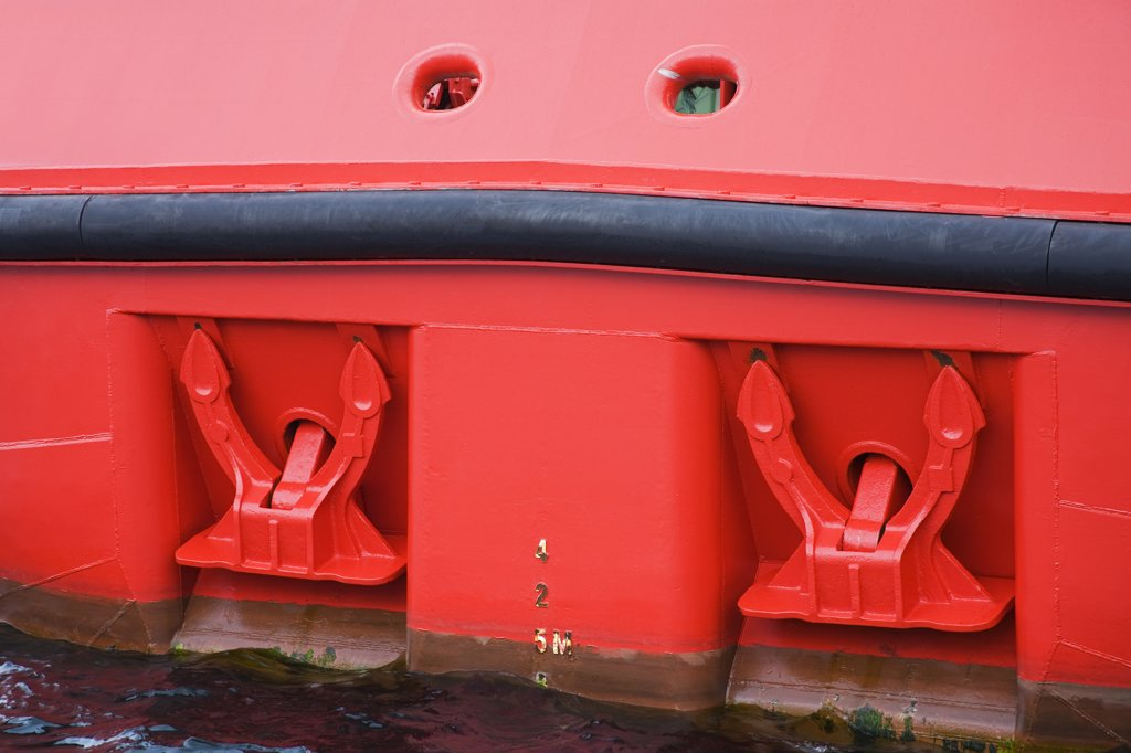Stern anchors on an oil rig supply ship, Stavanger, Rogaland County, Norway : Stock Photo