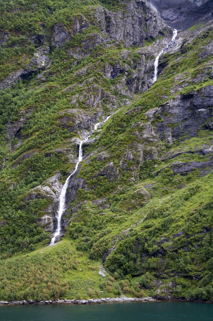 Stock Photo: 1486-11663 Waterfall, Geirangerfjord, Northern Fjord Region, Norway, Scandinavia