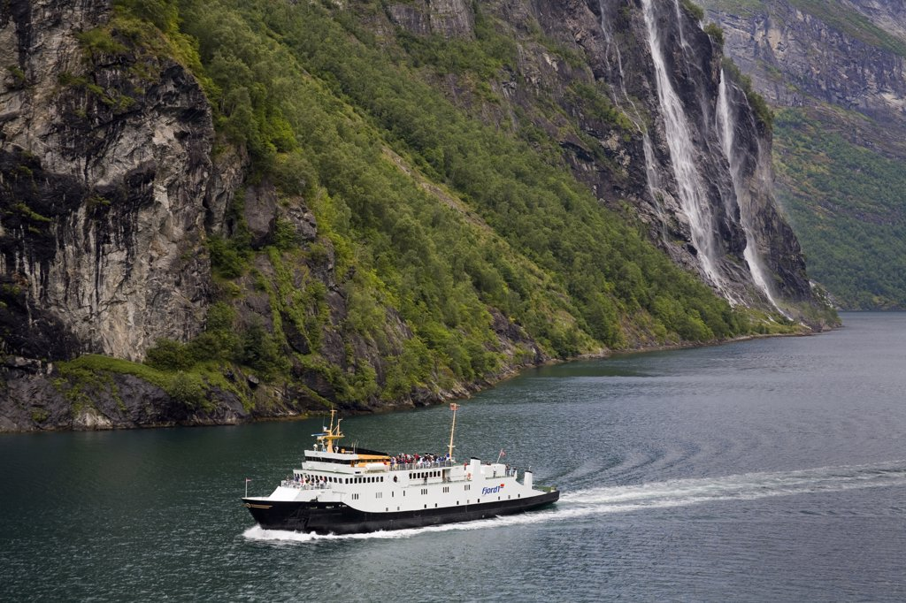 High angle view of a ferry in a fjord, Geirangerfjord, More og Romsdal, Sunnmore, Norway : Stock Photo
