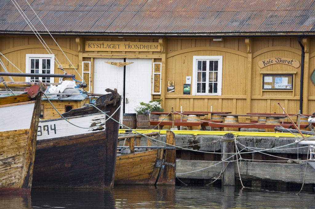 Stock Photo: 1486-11678 Fishing boats moored at a harbor, Ravnkloa, Trondheim, Trondelag County, Trondelag, Norway