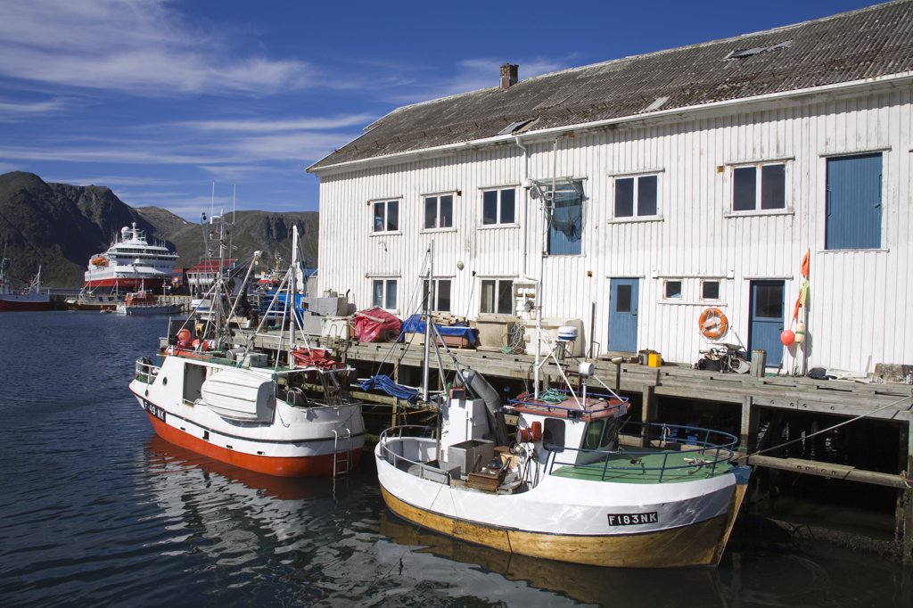 Stock Photo: 1486-11697 Boats moored at a port, Honningsvag Port, Honningsvag, Mageroya Island, Nordkapp, Finnmark County, Norway