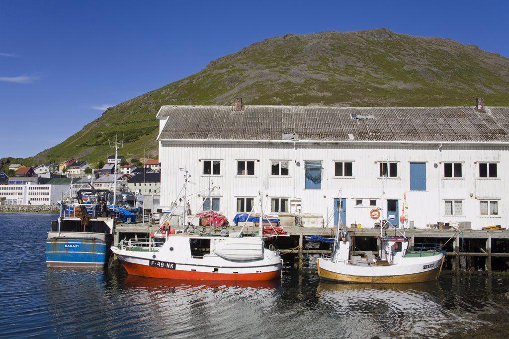 Boats moored at a port, Honningsvag Port, Honningsvag, Mageroya Island, Nordkapp, Finnmark County, Norway : Stock Photo