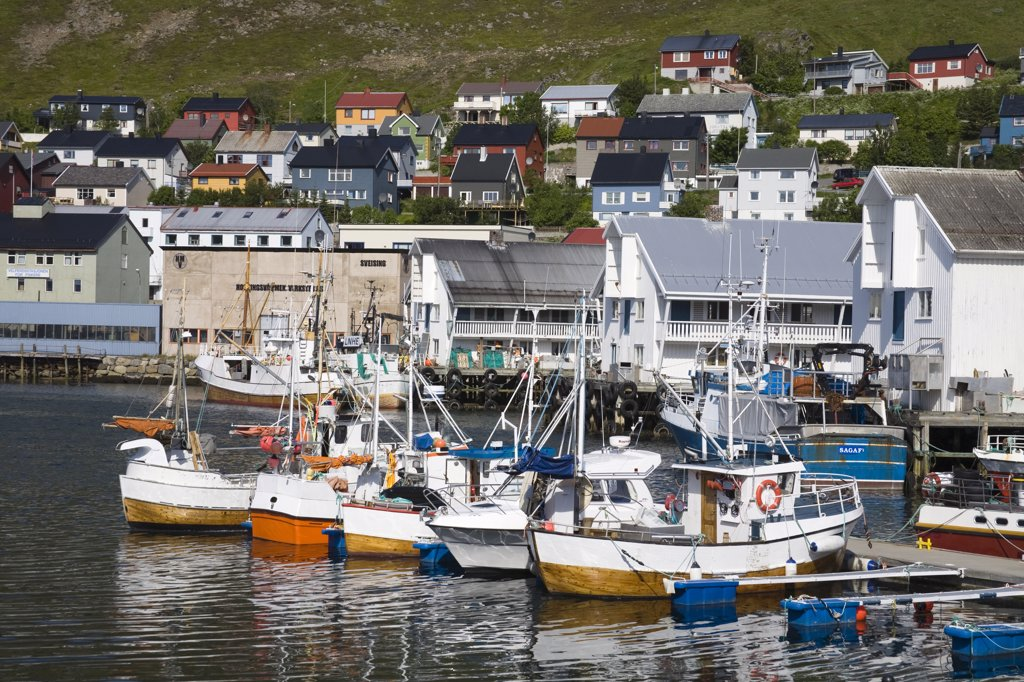 Stock Photo: 1486-11701 Boats moored at a port, Honningsvag Port, Honningsvag, Mageroya Island, Nordkapp, Finnmark County, Norway