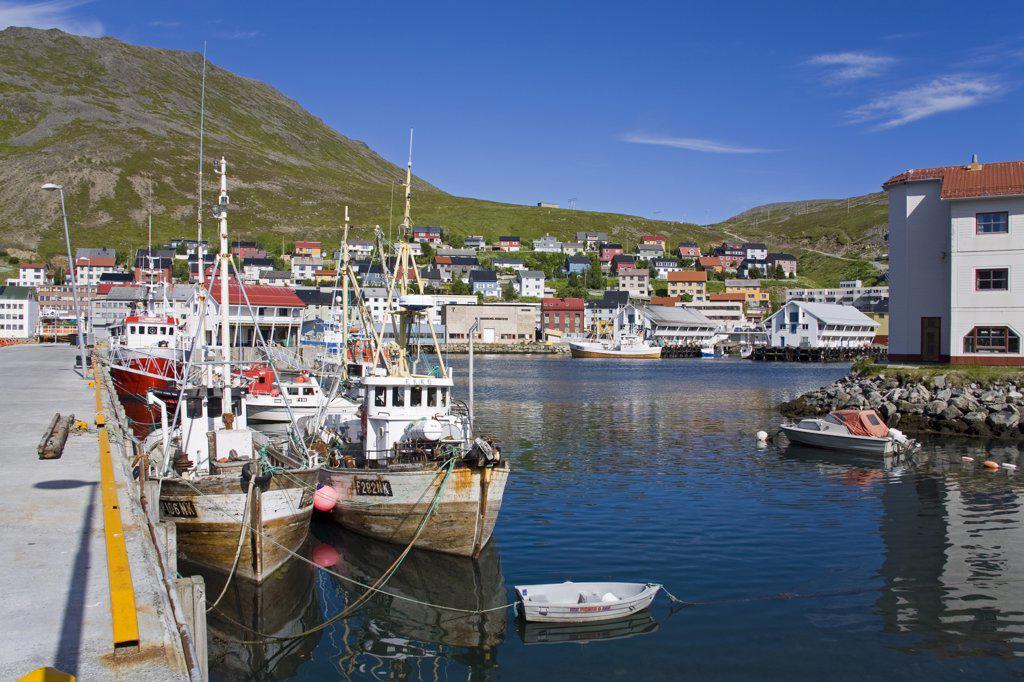 Stock Photo: 1486-11703 Boats moored at a port, Honningsvag Port, Honningsvag, Mageroya Island, Nordkapp, Finnmark County, Norway