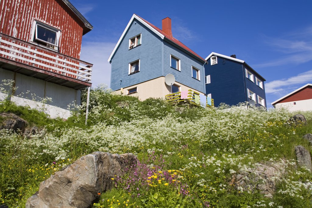 Stock Photo: 1486-11706 Low angle view of houses, Honningsvag Port, Honningsvag, Mageroya Island, Nordkapp, Finnmark County, Norway
