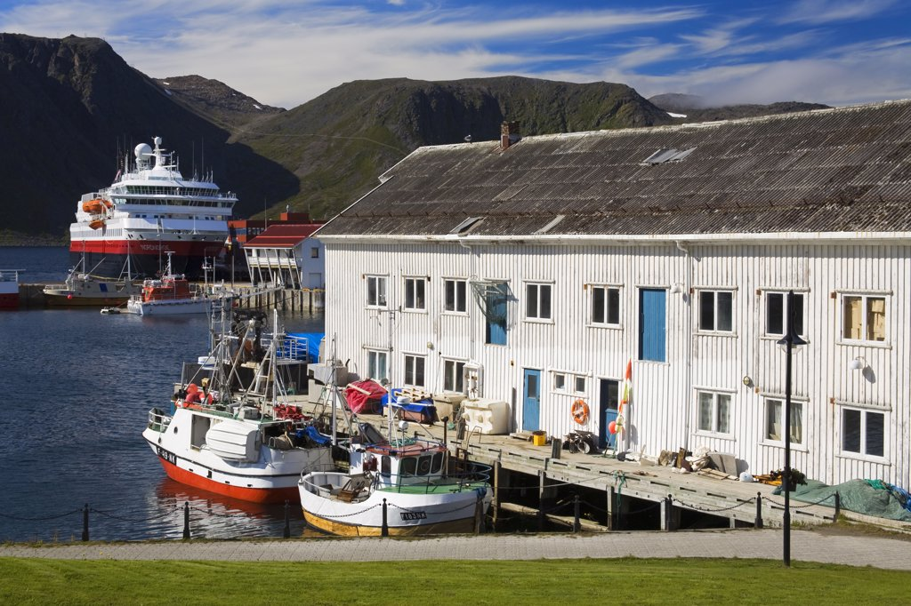 Stock Photo: 1486-11709 Boats moored at a port, Honningsvag Port, Honningsvag, Mageroya Island, Nordkapp, Finnmark County, Norway