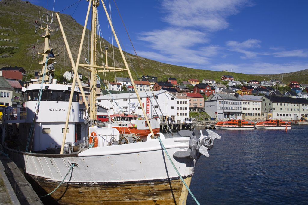 Stock Photo: 1486-11714 Boats moored at a port, Honningsvag Port, Honningsvag, Mageroya Island, Nordkapp, Finnmark County, Norway