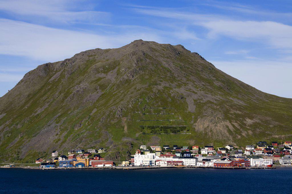 Houses on a hillside, Honningsvag Port, Honningsvag, Mageroya Island, Nordkapp, Finnmark County, Norway : Stock Photo