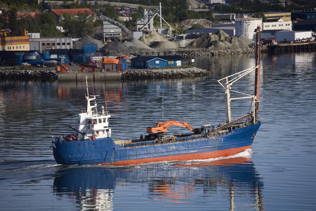 Ship near a commercial dock, Tromso, Toms County, Nord-Norge, Norway : Stock Photo