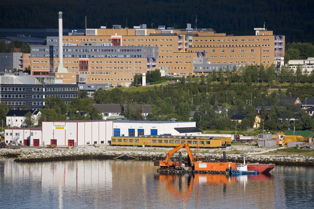 Buildings at the waterfront, Tromso, Toms County, Nord-Norge, Norway : Stock Photo