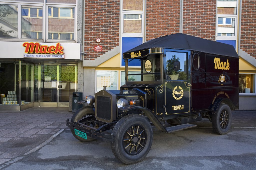 Stock Photo: 1486-11763 Vintage delivery truck in front of a brewery, Tromso, Toms County, Nord-Norge, Norway