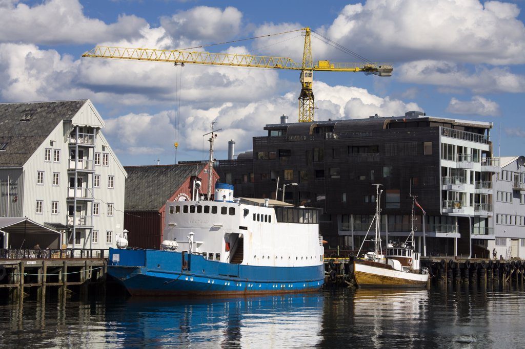 Stock Photo: 1486-11774 Old ferry at a dock, Skansen Docks, Tromso, Toms County, Nord-Norge, Norway