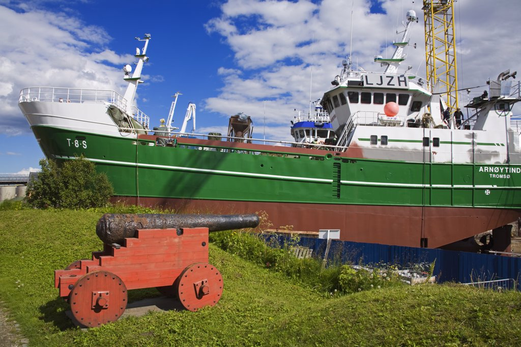 Commercial fishing boat at a dry dock, Skansen, Tromso, Toms County, Nord-Norge, Norway : Stock Photo