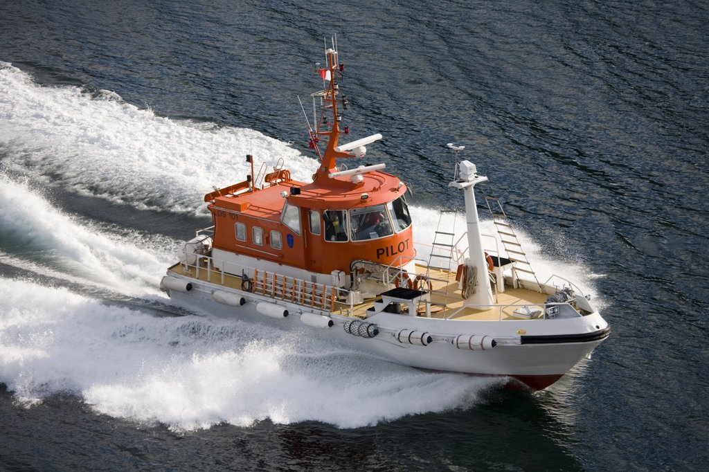 High angle view of a pilot boat in the sea, Tromso, Toms County, Nord-Norge, Norway : Stock Photo