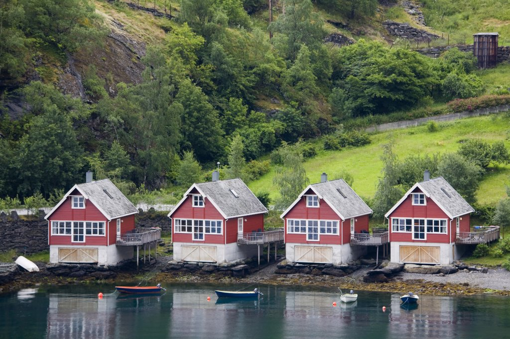 Boathouses on the coast, Flam, Aurlandsfjord, Sogn Og Fjordane, Norway : Stock Photo