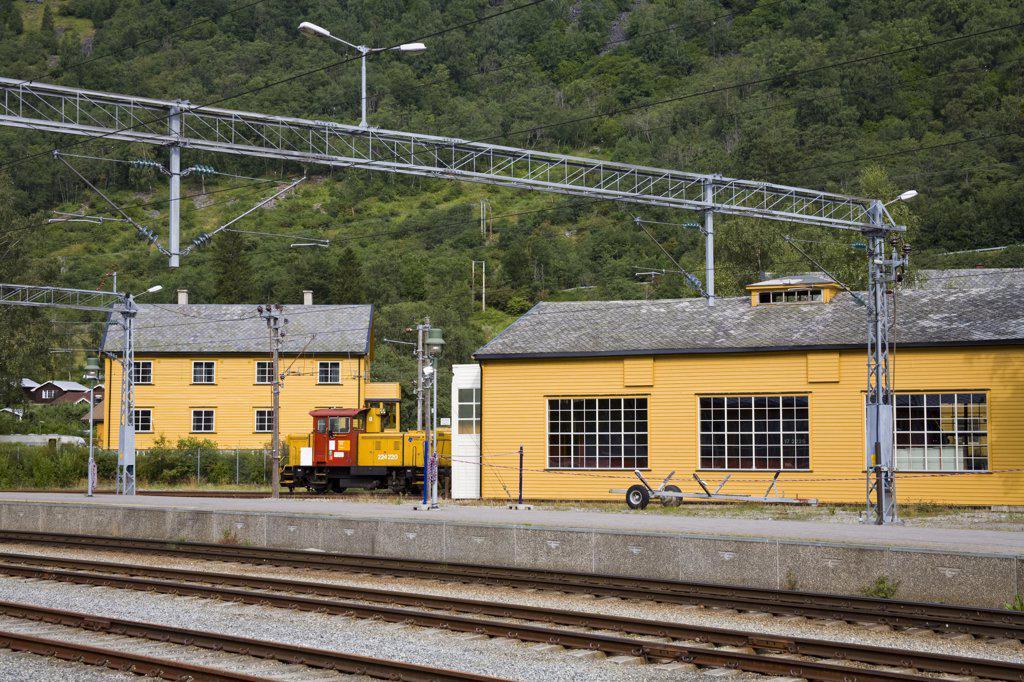 Stock Photo: 1486-11792 Locomotive at a railway station, Flam Station, Flam, Aurlandsfjord, Sogn Og Fjordane, Norway