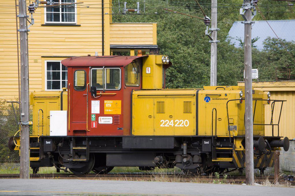 Stock Photo: 1486-11794 Locomotive at a railway station, Flam Station, Flam, Aurlandsfjord, Sogn Og Fjordane, Norway