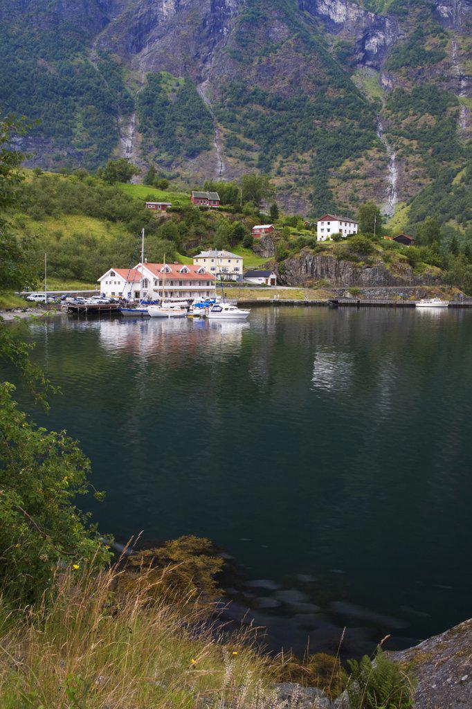 Stock Photo: 1486-11795 Boats at a marina, Flam, Aurlandsfjord, Sogn Og Fjordane, Norway