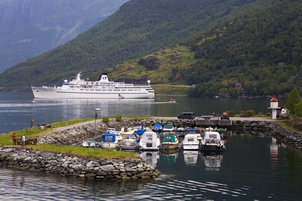 Stock Photo: 1486-11798 Boats at a harbor with a cruise ship in the background, Flam, Aurlandsfjord, Sogn Og Fjordane, Norway