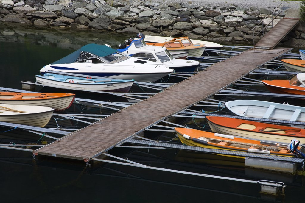 Stock Photo: 1486-11800 High angle view of boats at a harbor, Flam, Aurlandsfjord, Sogn Og Fjordane, Norway