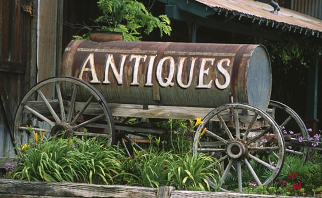 Stock Photo: 1486-1185 Barrel on a cart at an antique shop, Temecula, California, USA