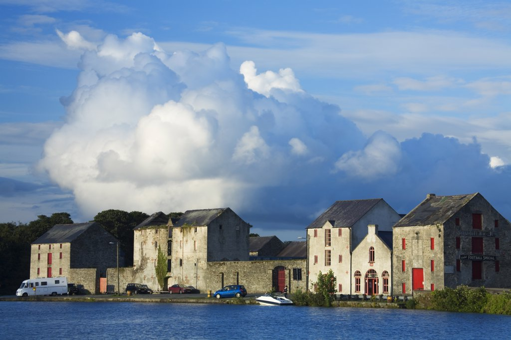 Warehouses at the waterfront, Ramelton, County Donegal, Ulster Province, Republic of Ireland : Stock Photo