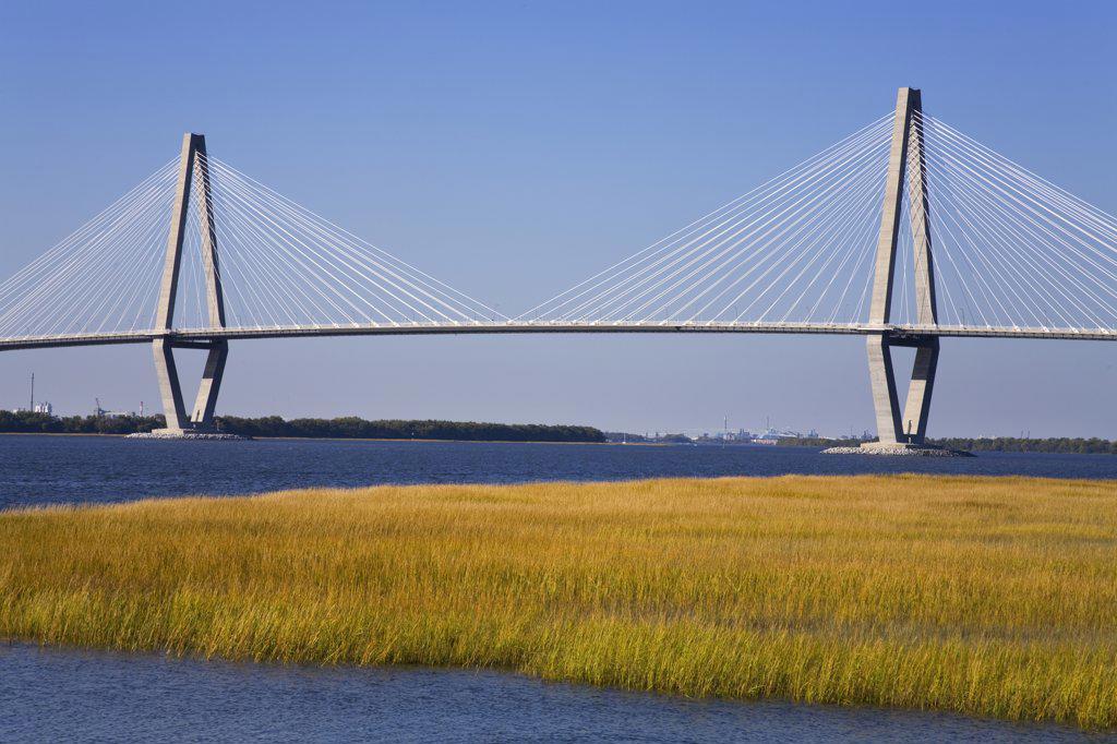 Stock Photo: 1486-11950 Suspension bridge across a river, Cooper River Bridge, Cooper River, Charleston, South Carolina, USA