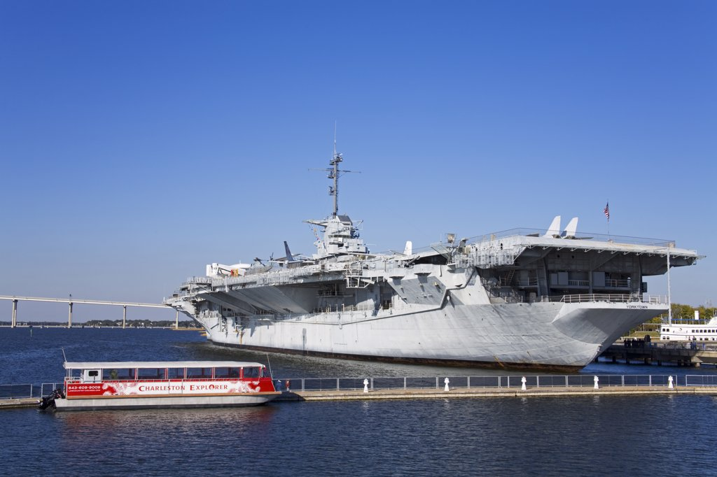 Aircraft carrier in a river, USS Yorktown, Patriot's Point Naval and Maritime Museum, Charleston, South Carolina, USA : Stock Photo