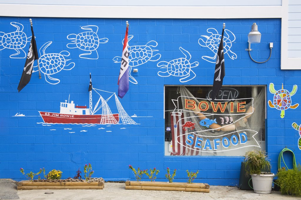 Mural on the wall of a seafood store, Tybee Island, Georgia, USA : Stock Photo