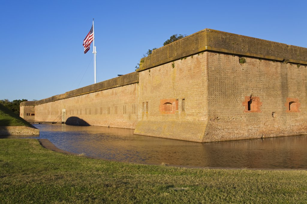 Fort at the riverside, Fort Pulaski, Fort Pulaski National Monument, Savannah River, Georgia, USA : Stock Photo