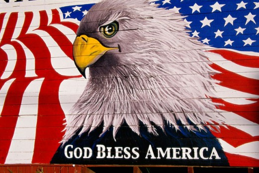 Close-up of a mural of a Bald Eagle and an American flag painted on a shed, California, USA : Stock Photo