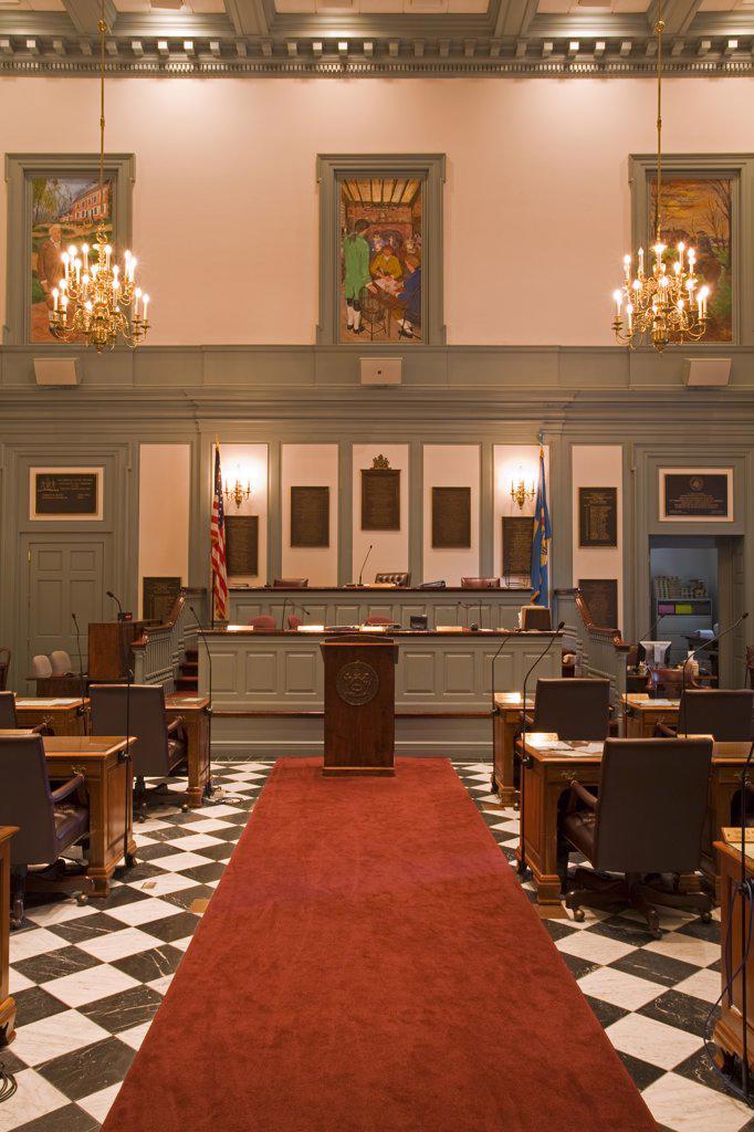 Stock Photo: 1486-12048A Senate in Legislative Hall, State Capitol,Dover City, Delaware State, USA