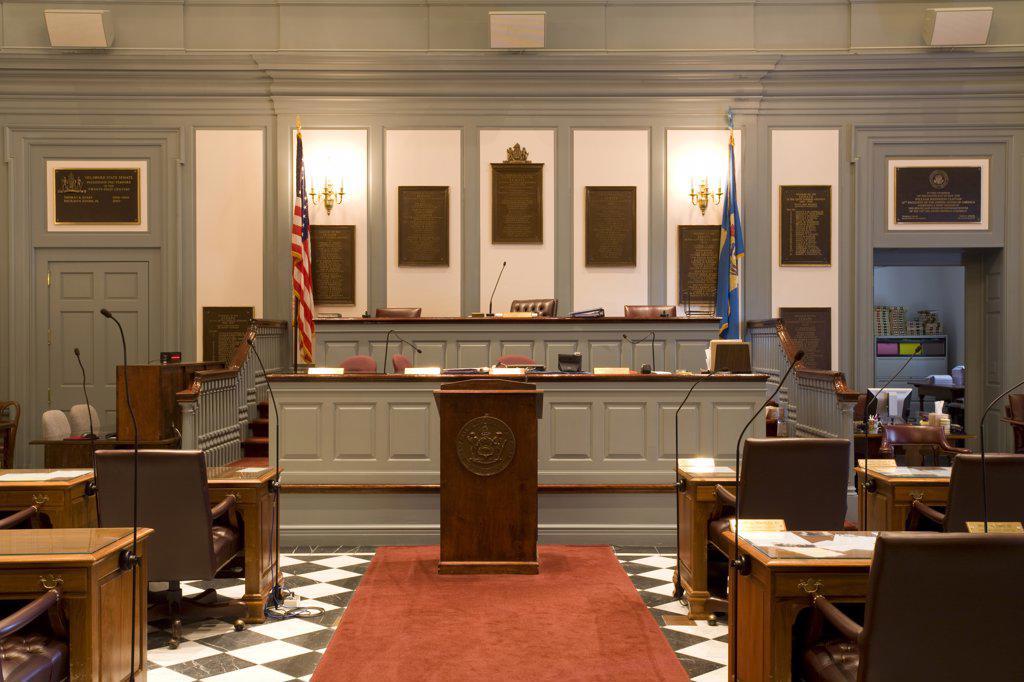 Senate in Legislative Hall, State Capitol,Dover City, Delaware State, USA : Stock Photo