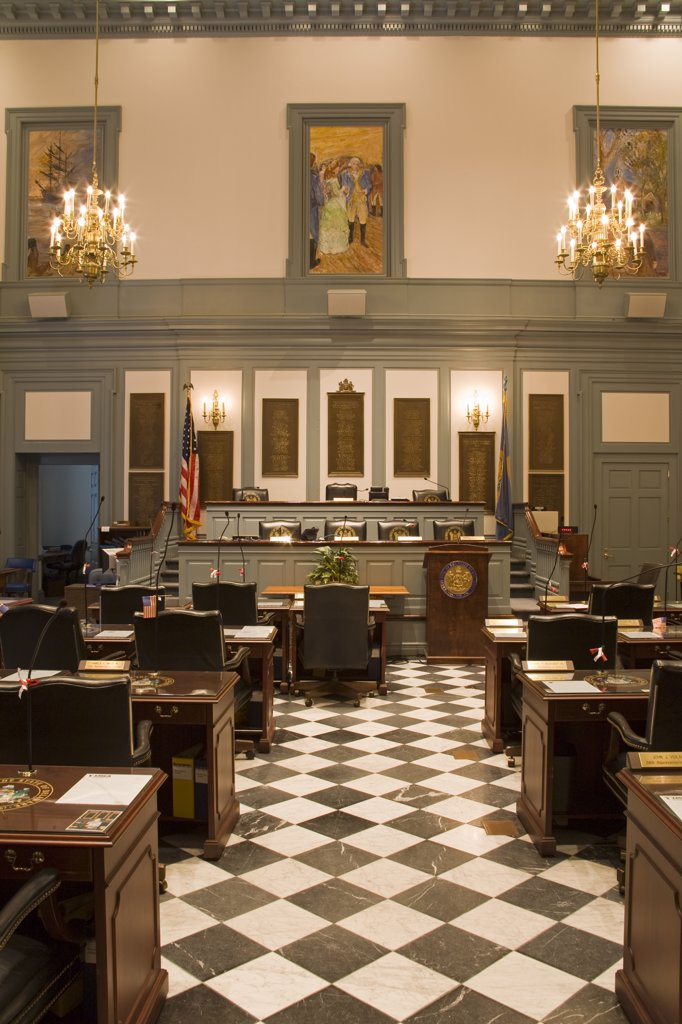 Stock Photo: 1486-12049A House of Representatives in Legislative Hall, State Capitol, Dover City, Delaware, USA