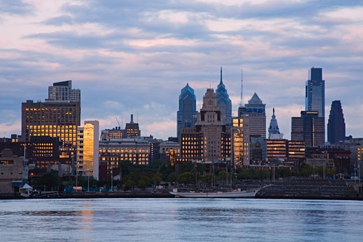 Buildings at the waterfront, Delaware River, Philadelphia, Pennsylvania, USA : Stock Photo