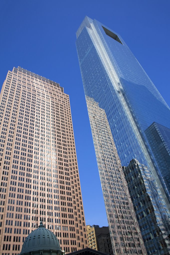 Low angle view of skyscrapers, Comcast Tower, Center City, Philadelphia, Pennsylvania, USA : Stock Photo