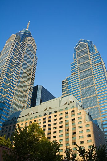 Stock Photo: 1486-12143 Low angle view of commercial buildings, Liberty Tower, Philadelphia, Pennsylvania, USA