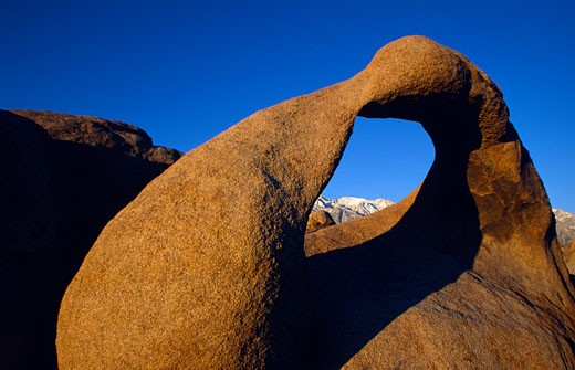 Natural arch on a landscape, Rock Arch, Alabama Hills Recreation Area, California, USA : Stock Photo