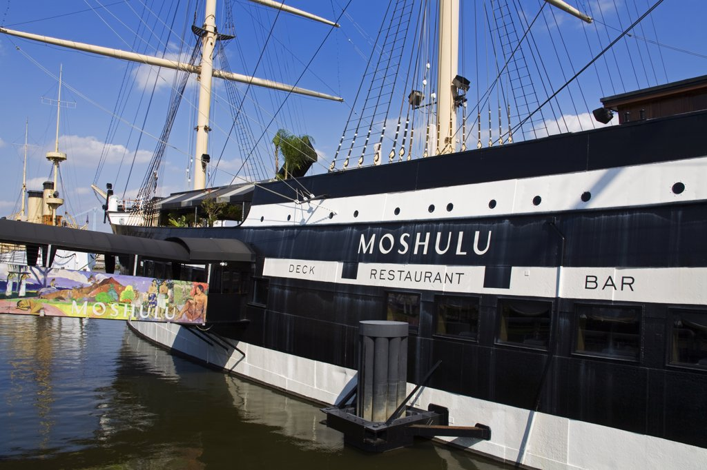 Stock Photo: 1486-12156 Ship docked in a river, Moshulu, Delaware River, Penn's Landing, Waterfront District, Philadelphia, Pennsylvania, USA