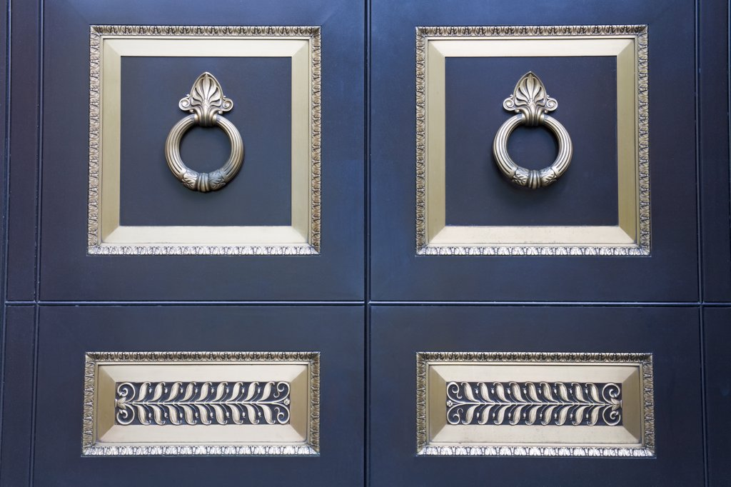 Stock Photo: 1486-12161 Close-up of the doors of a cathedral, St. Peter And Paul Cathedral, Logan Square, Philadelphia, Pennsylvania, USA