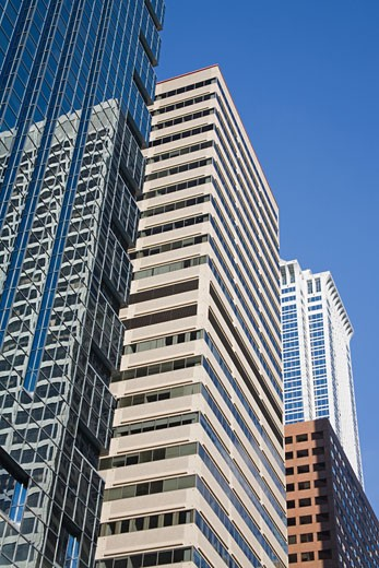 Low angle view of commercial buildings, Philadelphia, Pennsylvania, USA : Stock Photo