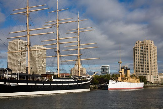 Museum ships moored at the river, Cruiser Olympia and Submarine Becuna, Independence Seaport Museum, Delaware River, Penn's Landing, Waterfront District, Philadelphia, Pennsylvania, USA : Stock Photo