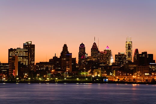Stock Photo: 1486-12181D Buildings at the waterfront, Delaware River, Philadelphia, Pennsylvania, USA