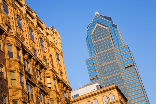 Low angle view of buildings in a city, Liberty Tower, Philadelphia, Pennsylvania, USA : Stock Photo