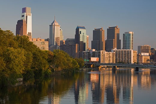 Stock Photo: 1486-12193A Buildings at the waterfront, Schuylkill River, Philadelphia, Pennsylvania, USA