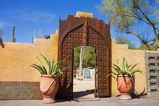Gate in Town Center, Carefree City, Greater Phoenix Area, Arizona, USA : Stock Photo