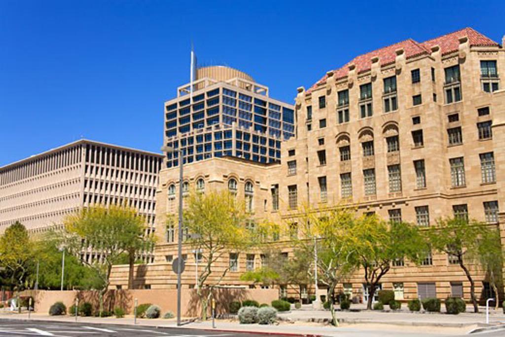 Stock Photo: 1486-12317 Old & New City Hall, Phoenix, Arizona, USA