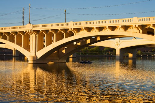 Town Lake & Mill Avenue Bridge, Tempe, Greater Phoenix Area, Arizona, USA : Stock Photo