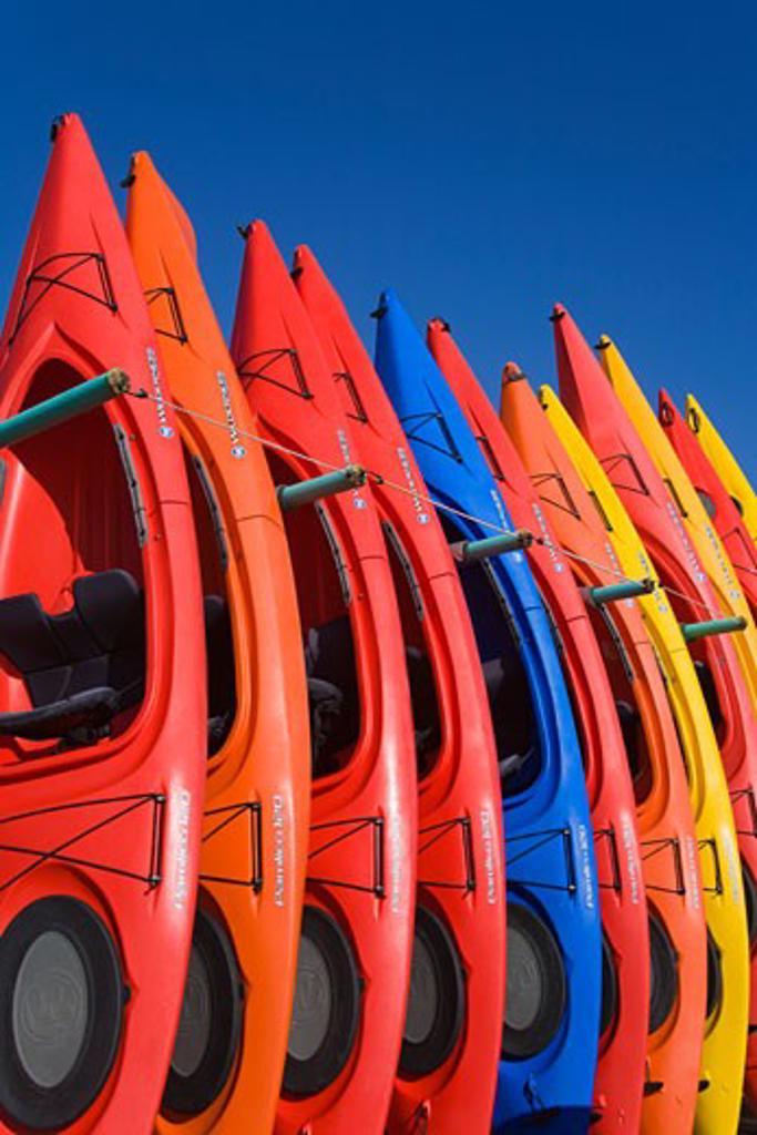 Stock Photo: 1486-12434 Kayak Rental,Embarcadero,City of Morro Bay,San Luis Obispo County,California,USA