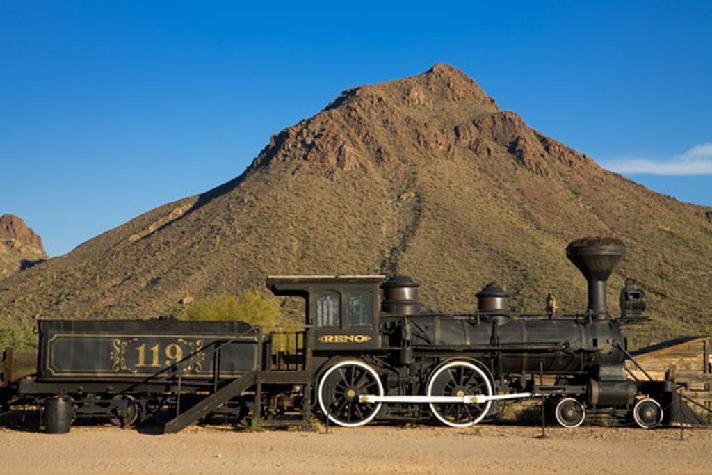 Reno locomotive in front of a mountain, Old Tucson Studios, Tucson, Pima County, Arizona, USA : Stock Photo